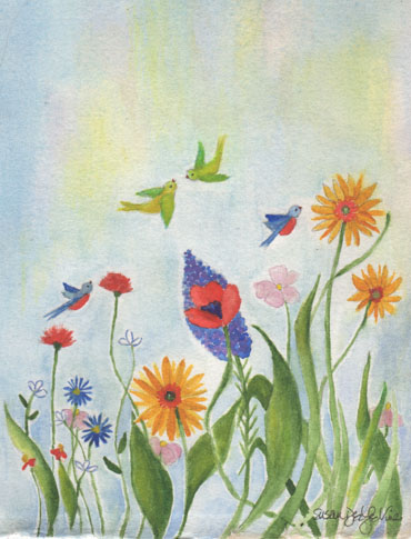 birds and flowerswallart