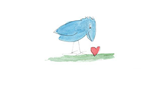 Bird finds a heart